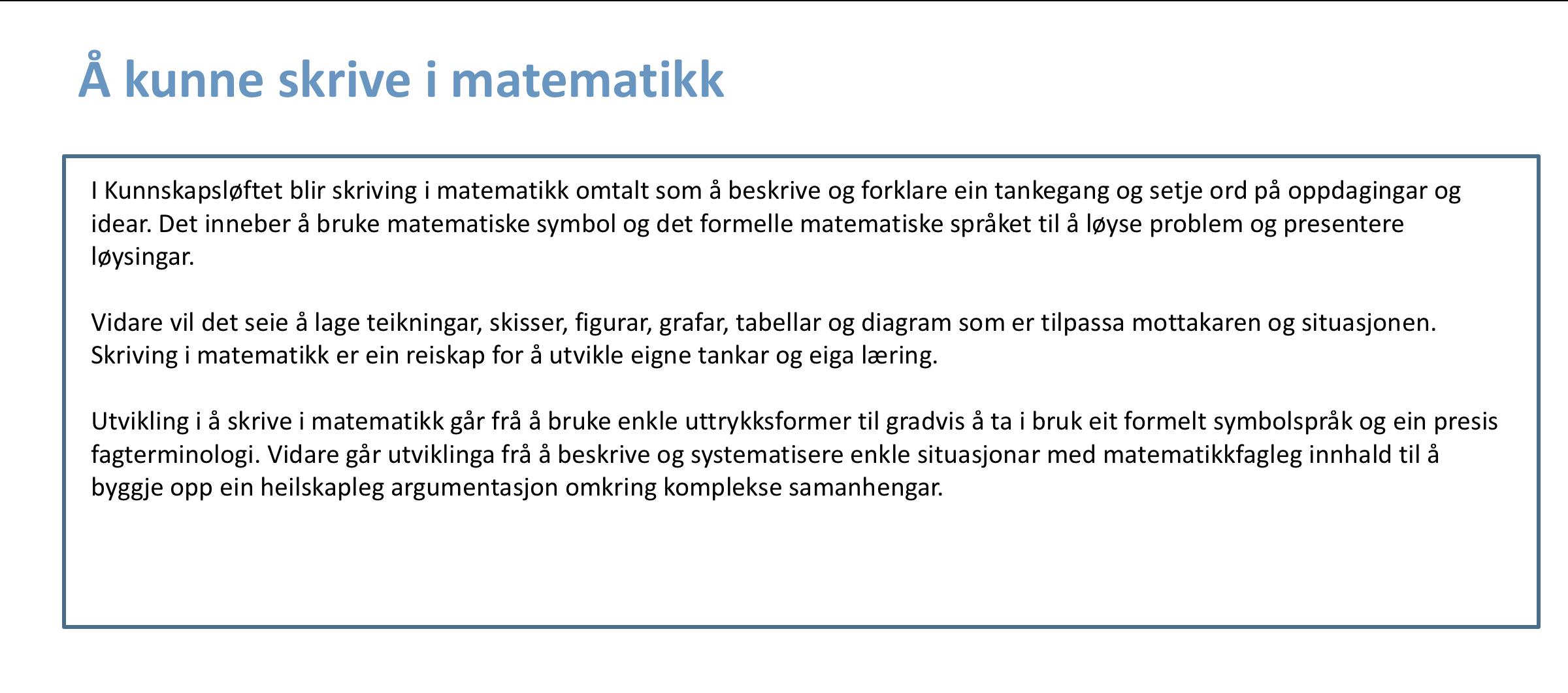 Å kunne skrive i matematikk