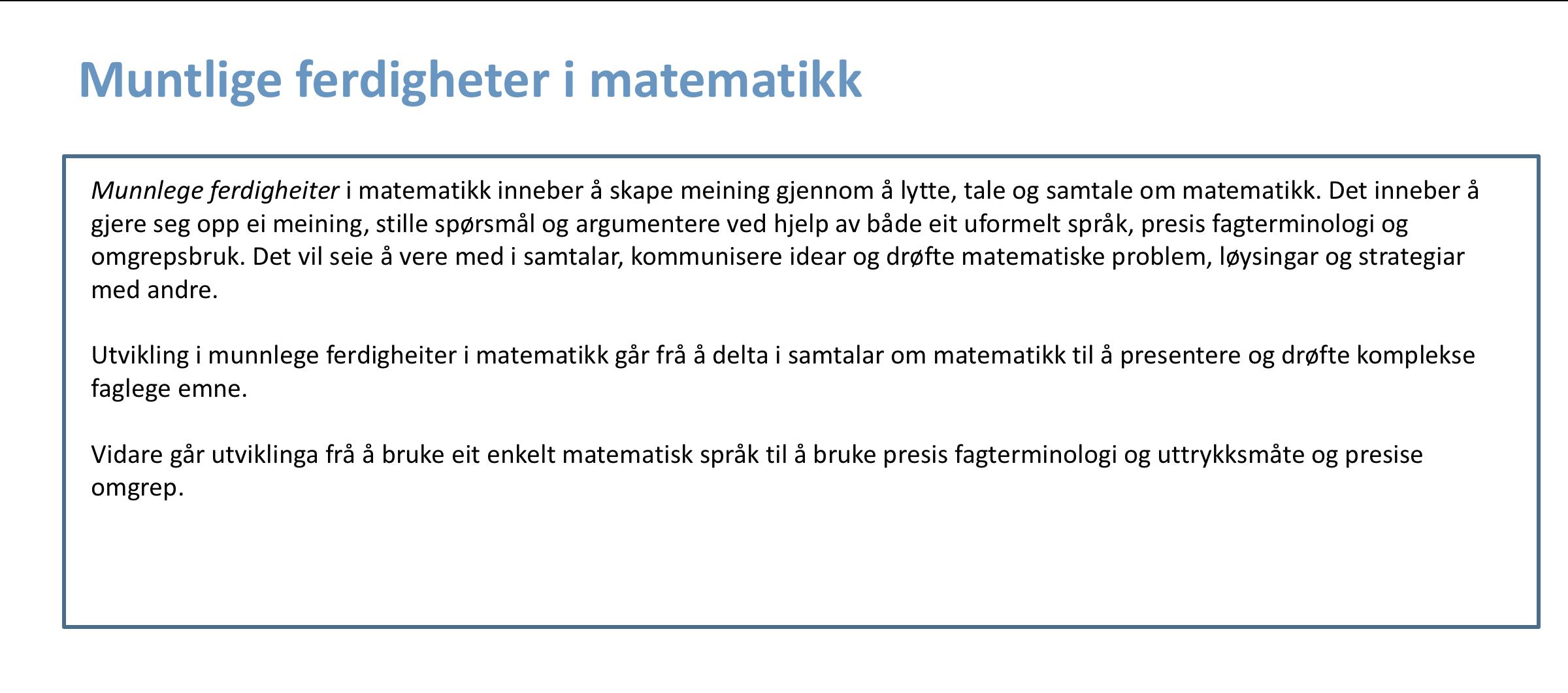 Muntlige ferdigheter i matematikk